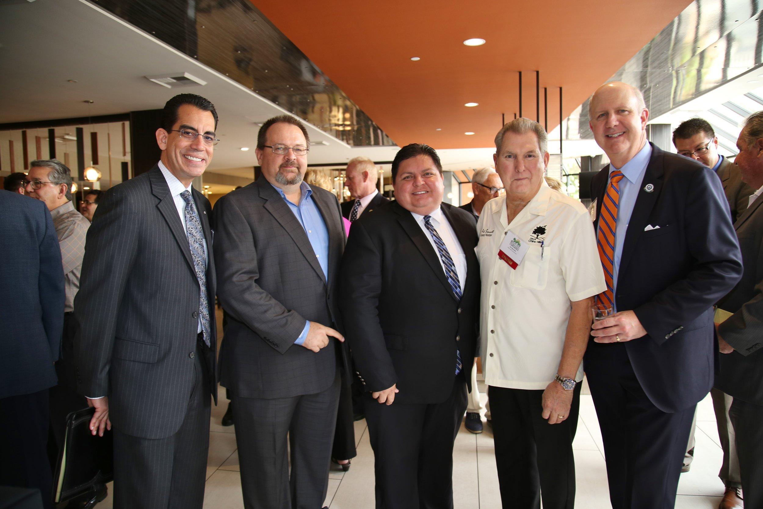 (From left to right) CEO Carlos Rodriguez, BIABV President Phil Burum, Rialto Councilmember Rafael Trujillo, Chino Hills Councilmember Art Bennett, CBIA CEO Dan Dunmoyer.