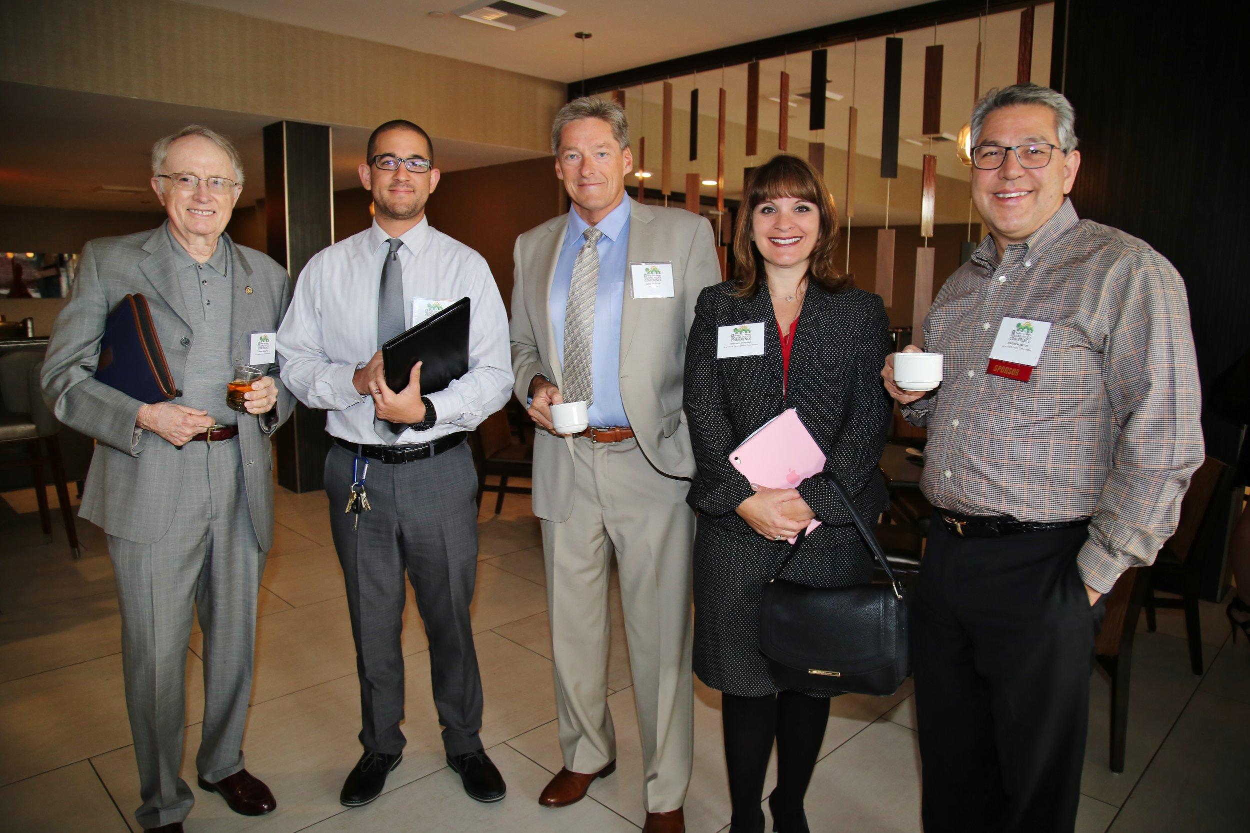 (From left to right) San Bernardino Councilmember James Mulvihill, panelist Frank Castanos, panelist John Mulville, panelist Mariann Johnson, and former BIABV presdent Matt Jordan.