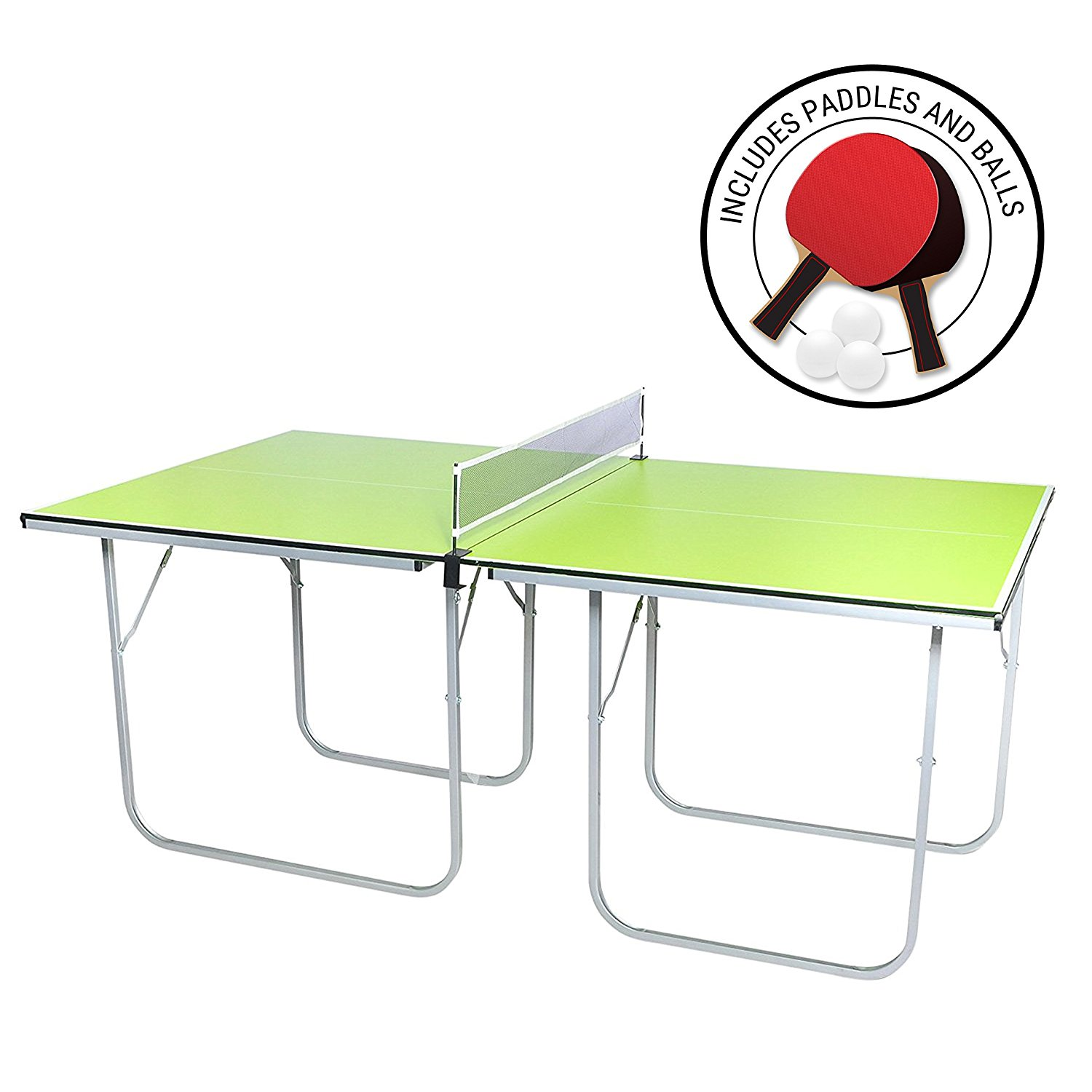<b>Milliard Mini-Pong<br>Portable Tennis Table</b><br>40 x 70in. includes net,<br>paddles, & balls