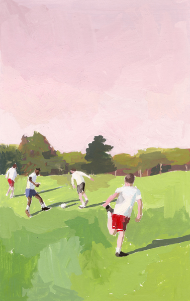"Soccer Match   2012 gouache on paper 4 x 6""  prints available"