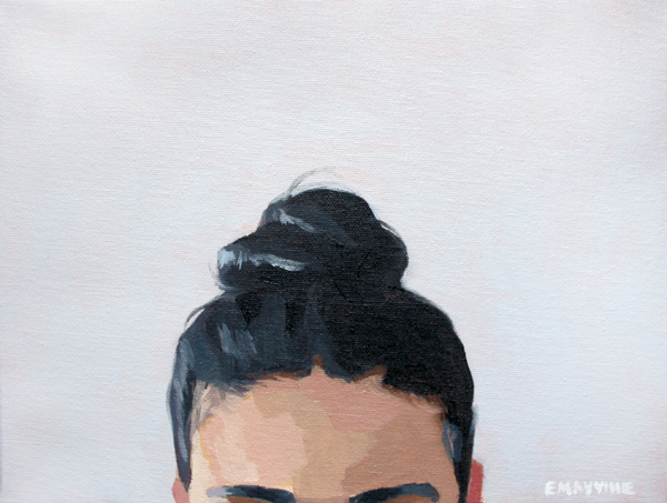"Top Knot 43   2015 oil on canvas 9 x 12""  prints available"