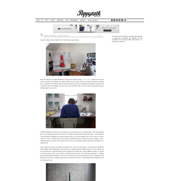 """Sharing the Process: Elizabeth Mayville"", Heather Smith Jones,  Poppytalk.blogspot.org , February 28 2012"