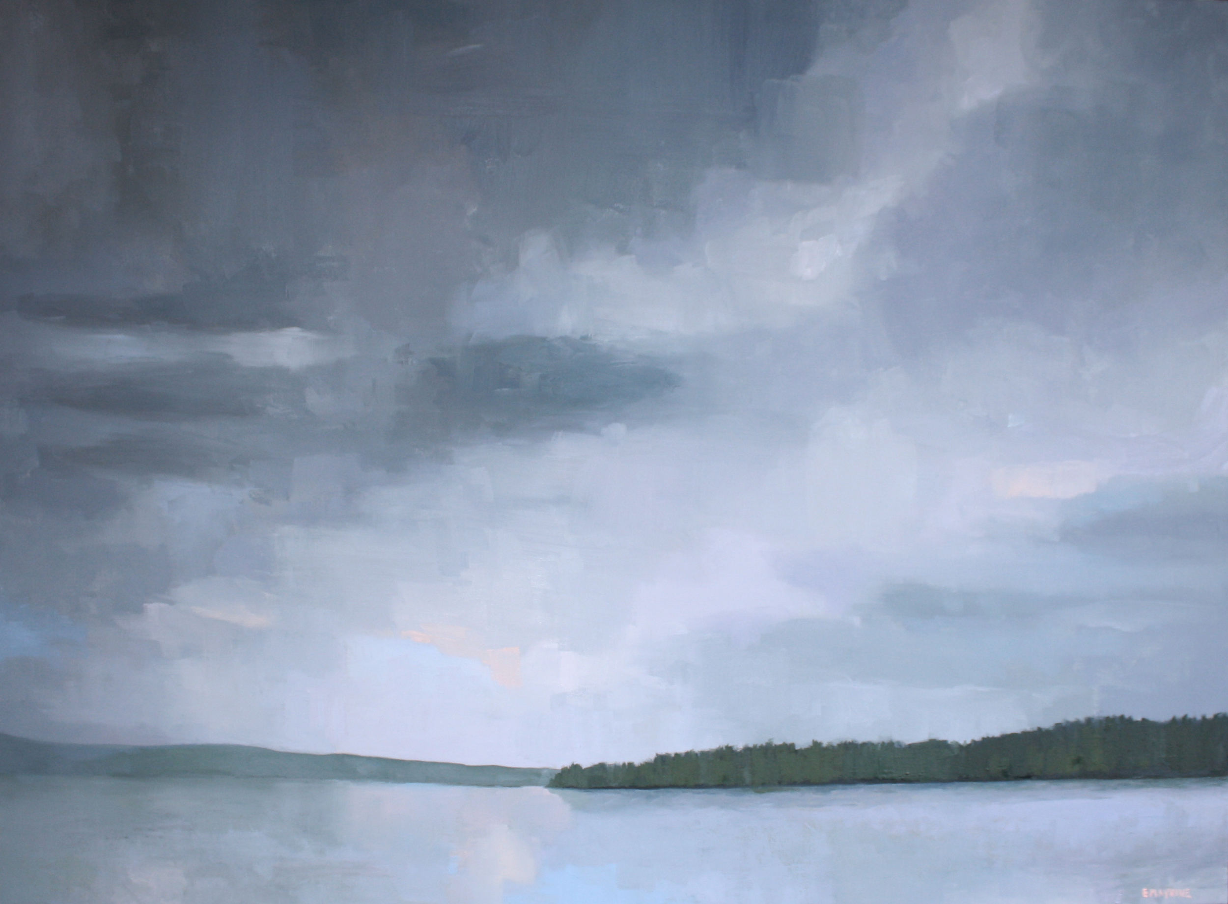"""Lake & Sky 1""  2016 oil on canvas 30 x 40"""