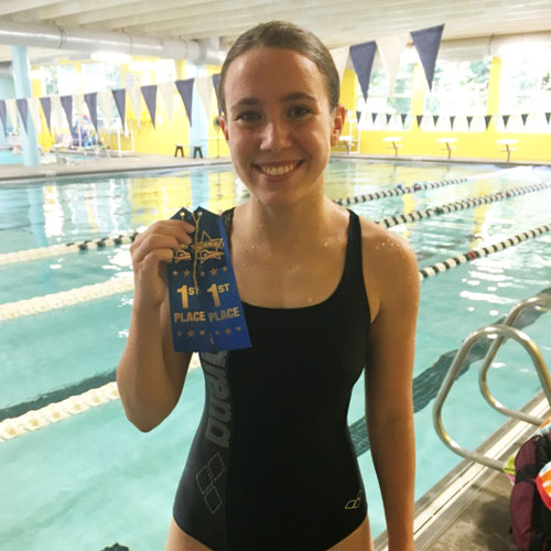 After working with Coach Colton for less than two months this summer Ashley (pictured below)had a PR swim at the meet in July and dropped almost 7 seconds on her 50 Freestyle swim!