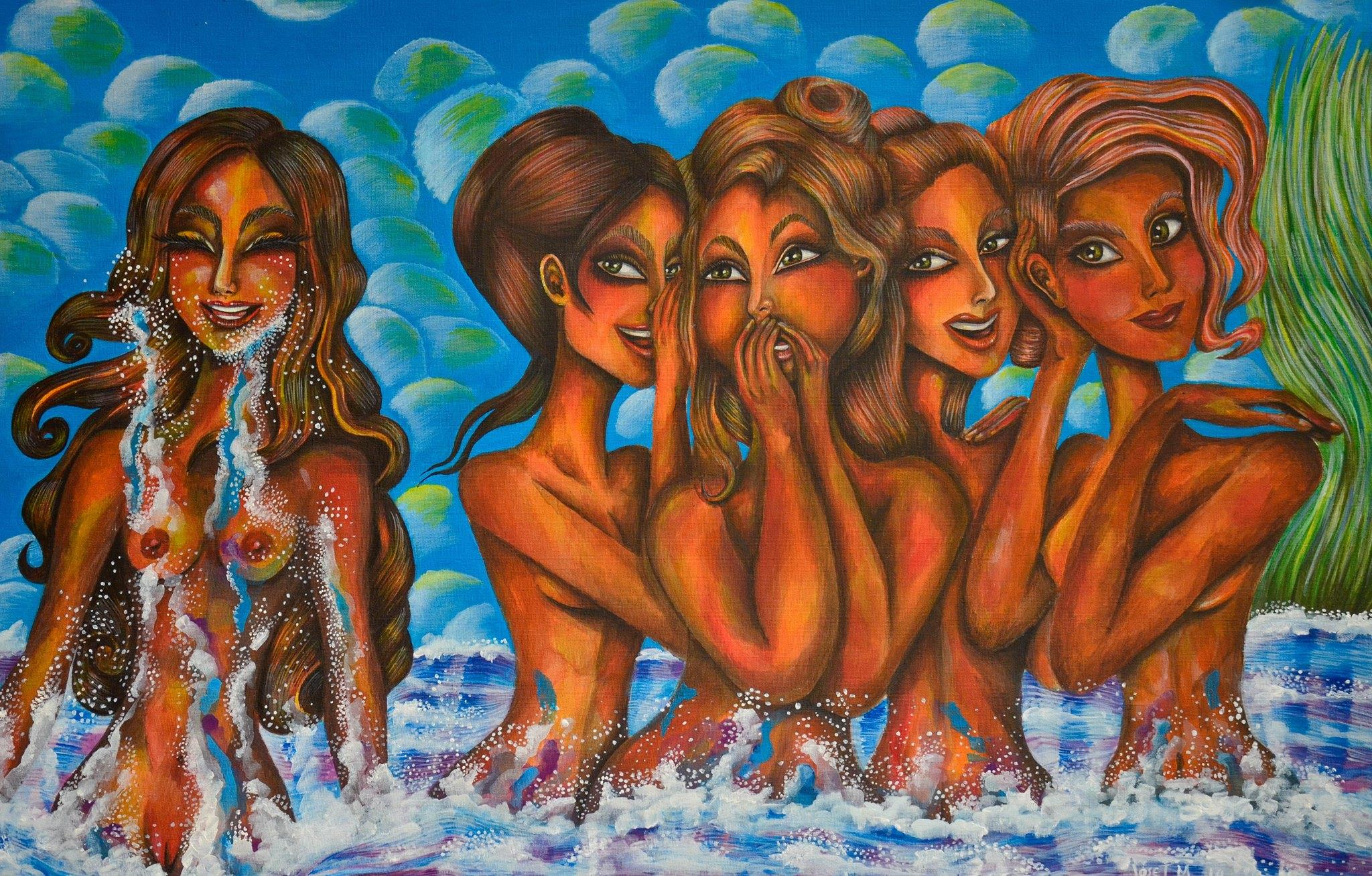 "RUMORS FADE AWAY WITH THE FLOW  Acrylic on Canvas  25"" x 35""  Private Collection  (Panama, Panama)"