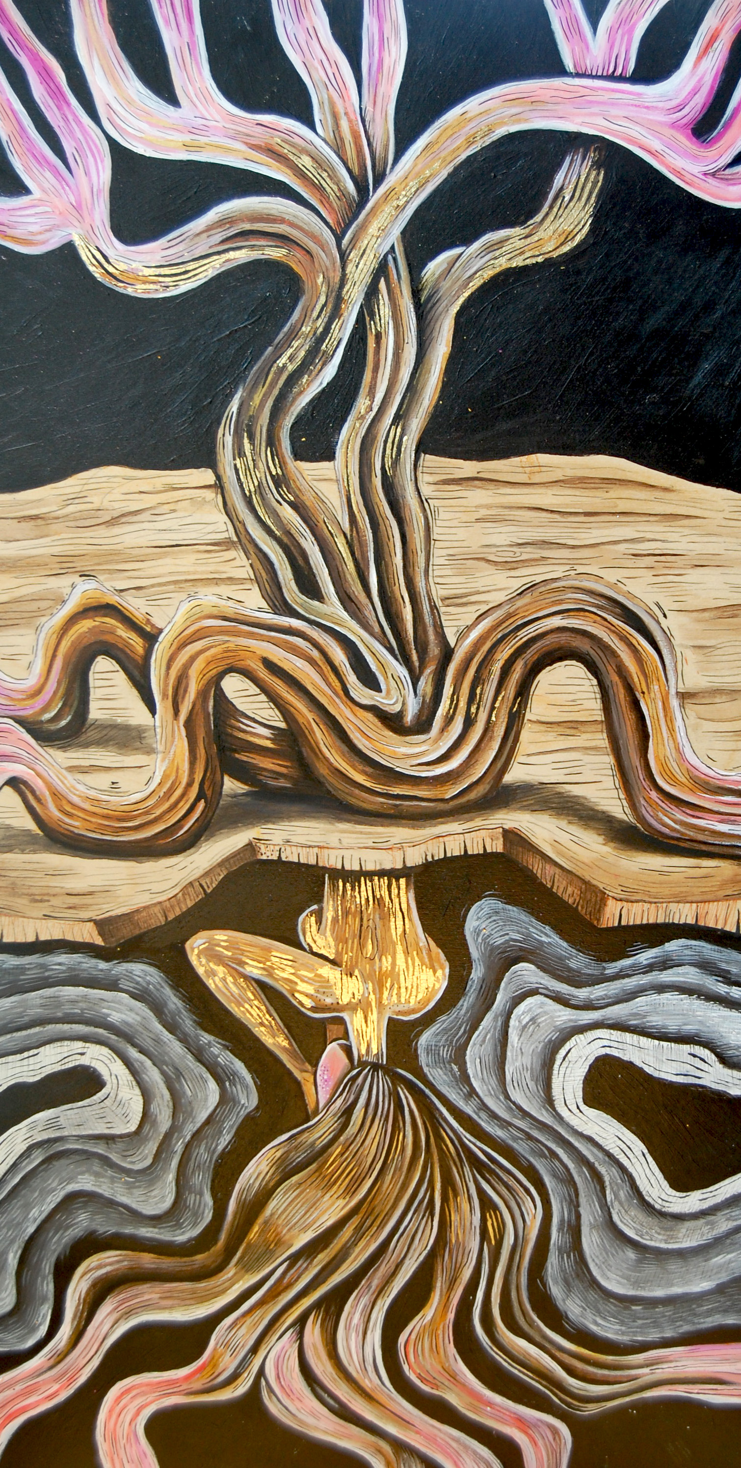 "ROOTS  Acrylic, Ink and Gold Leaf on Wood  12"" x 24"""