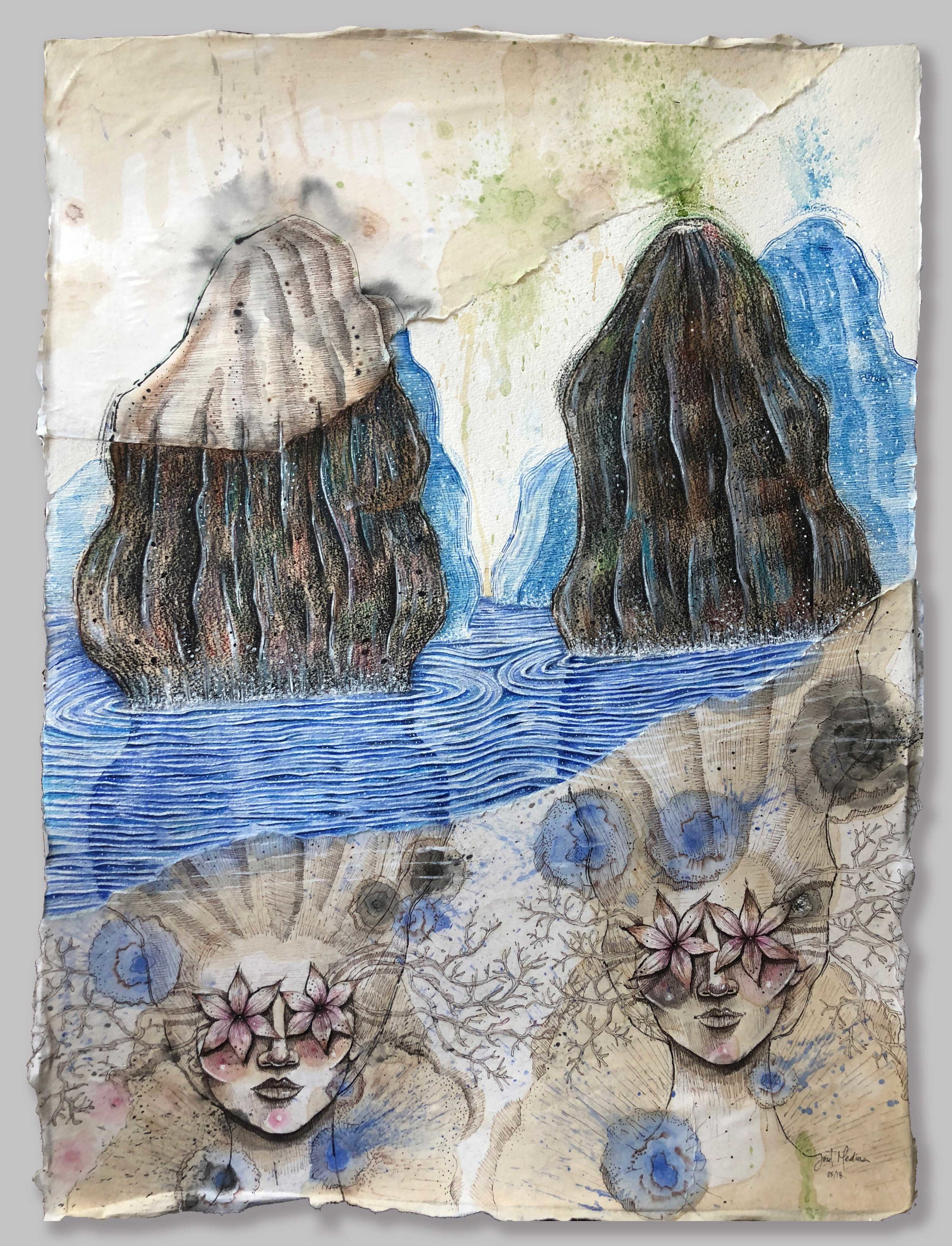 """A Bay of Goddesses (2018)  Acrylic, watercolor, ink and charcoal on paper  30 x 22 inches   """" I spent Christmas 2017 in Halong Bay Vietnam and this was the inspiration for this piece. It was mesmerizing to me to contemplate the beauty of the landscape, it was an surreal experience, which made me wonder and imagine stories about a submerged world, a magical world where reality and imagination blends."""""""