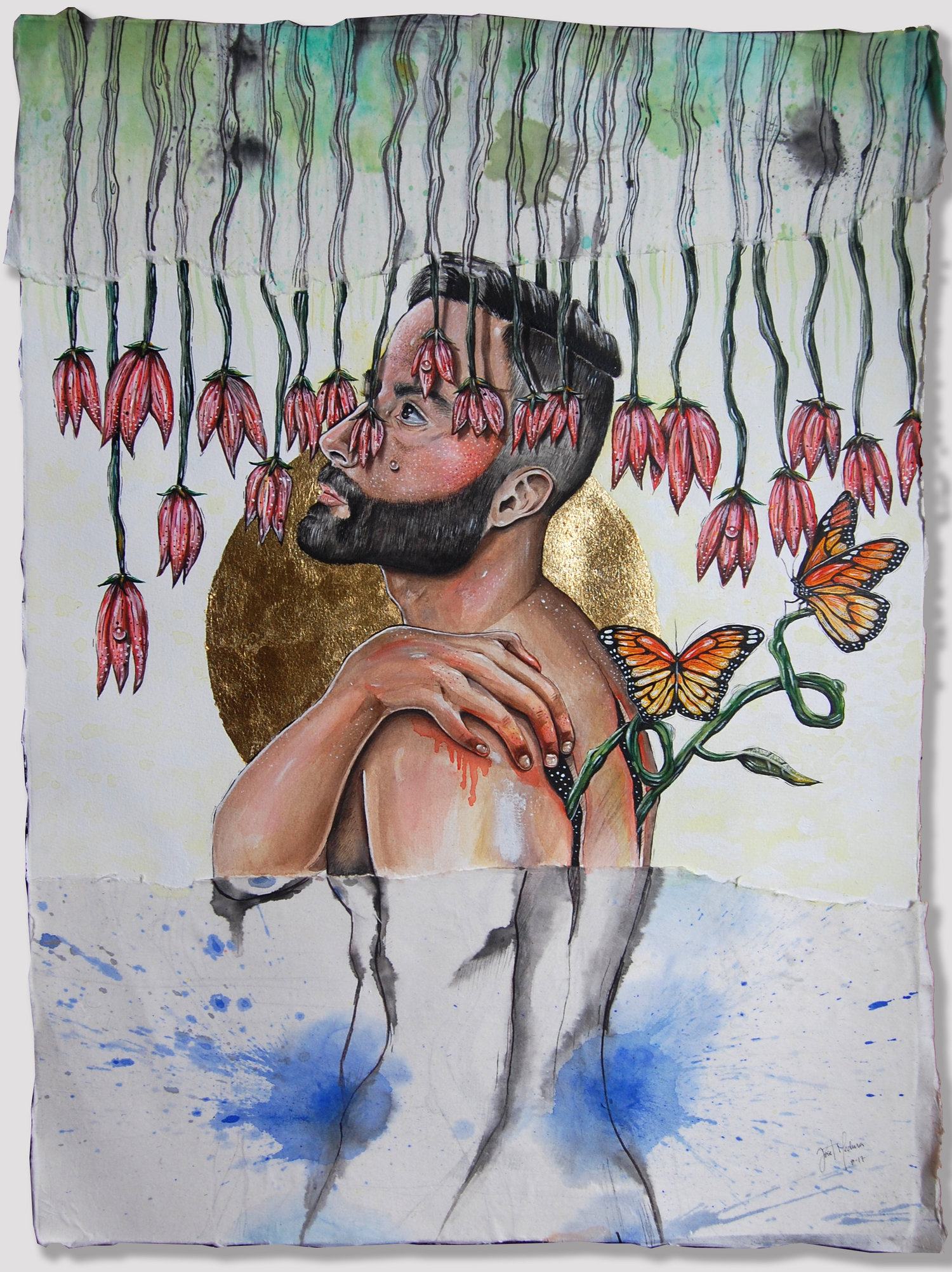"""Ripping Layers (2017)  Acrylic, watercolor, ink and gold leaf on paper  30 x 22 inches   """"The piece juxtaposing ripped pieces of paper to represent the metaphorical analogies of my own personal growth and ability to look back and move change forward and appreciate the beauty of it all. The deliberate use of monarch butterflies reflected the long journey as well as the physical and mental metamorphosis I experienced in my life."""""""