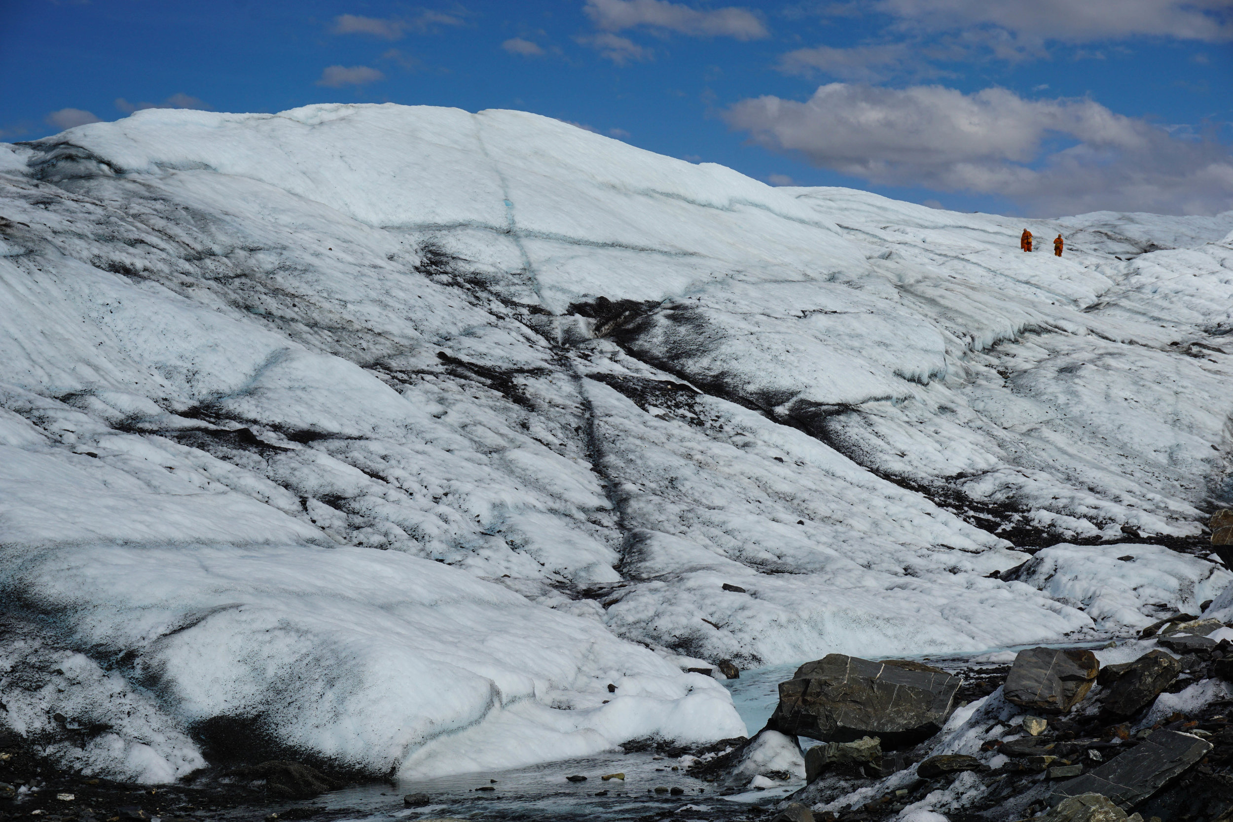 Two Thai monks are navigating the massive Matanuska Glacier. I stopped later on to get a photo with them.