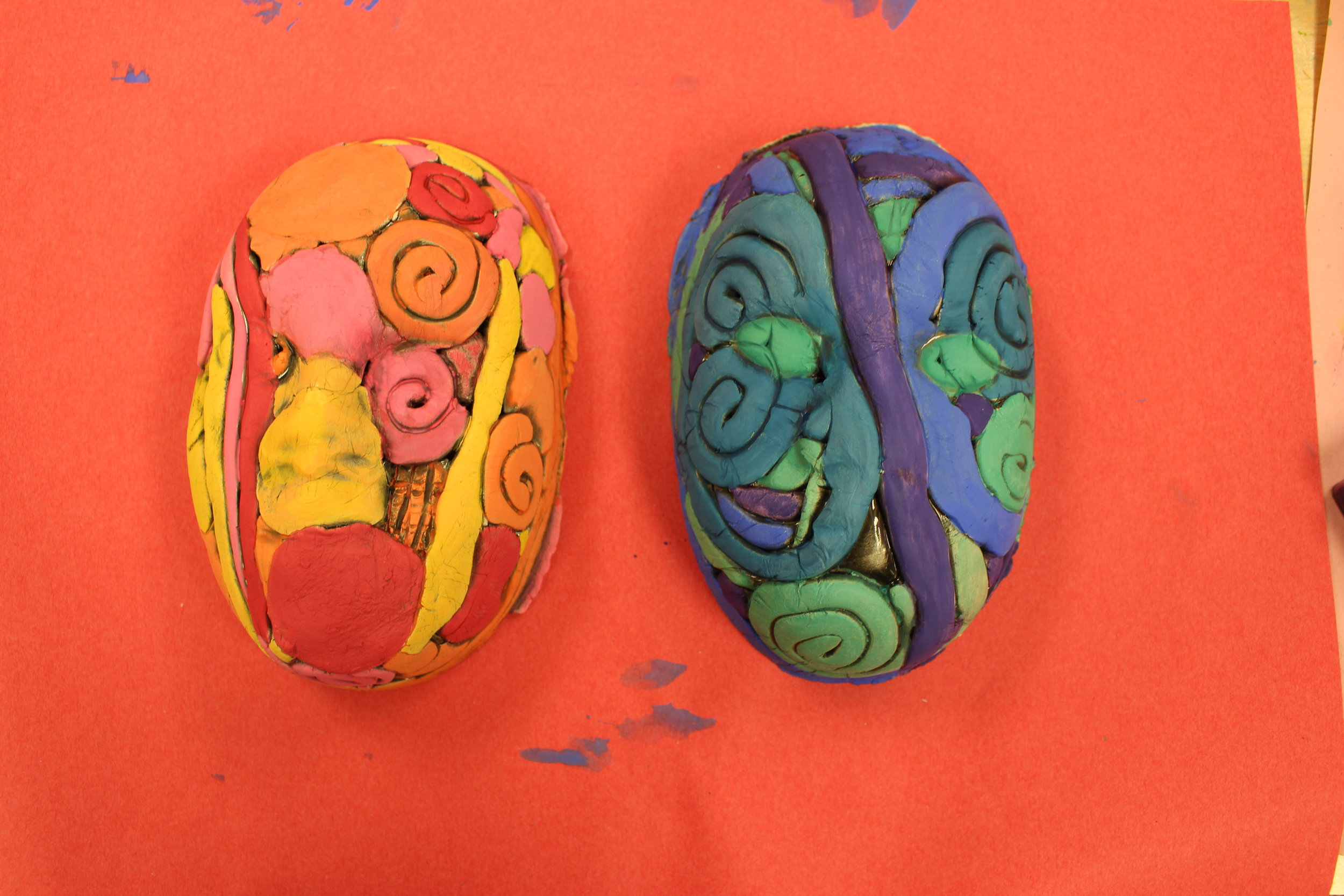 Matisse inspired clay Portraits! Our 1st graders learned about coils, slabs, and spheres!