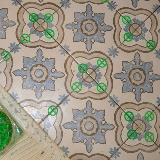 In-progress tiling and already looking good!  #bathroomrenovation #bathroomremodel #tilefloor #patterntiles #renovation #generalcontractor #rvacontractor #oldhouselove #northsiderva