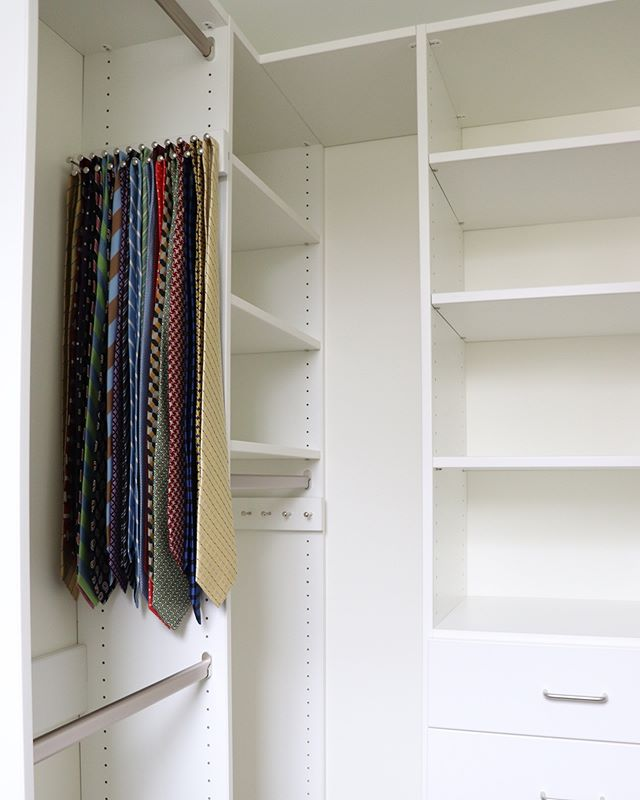 A custom master bedroom closet designed to meet our customer's needs - just one corner of a full-house renovation + addition we're excited to share with you!  #renovation #simplestorage #oldhouselove #generalcontractors #rvacontractor #northsiderva