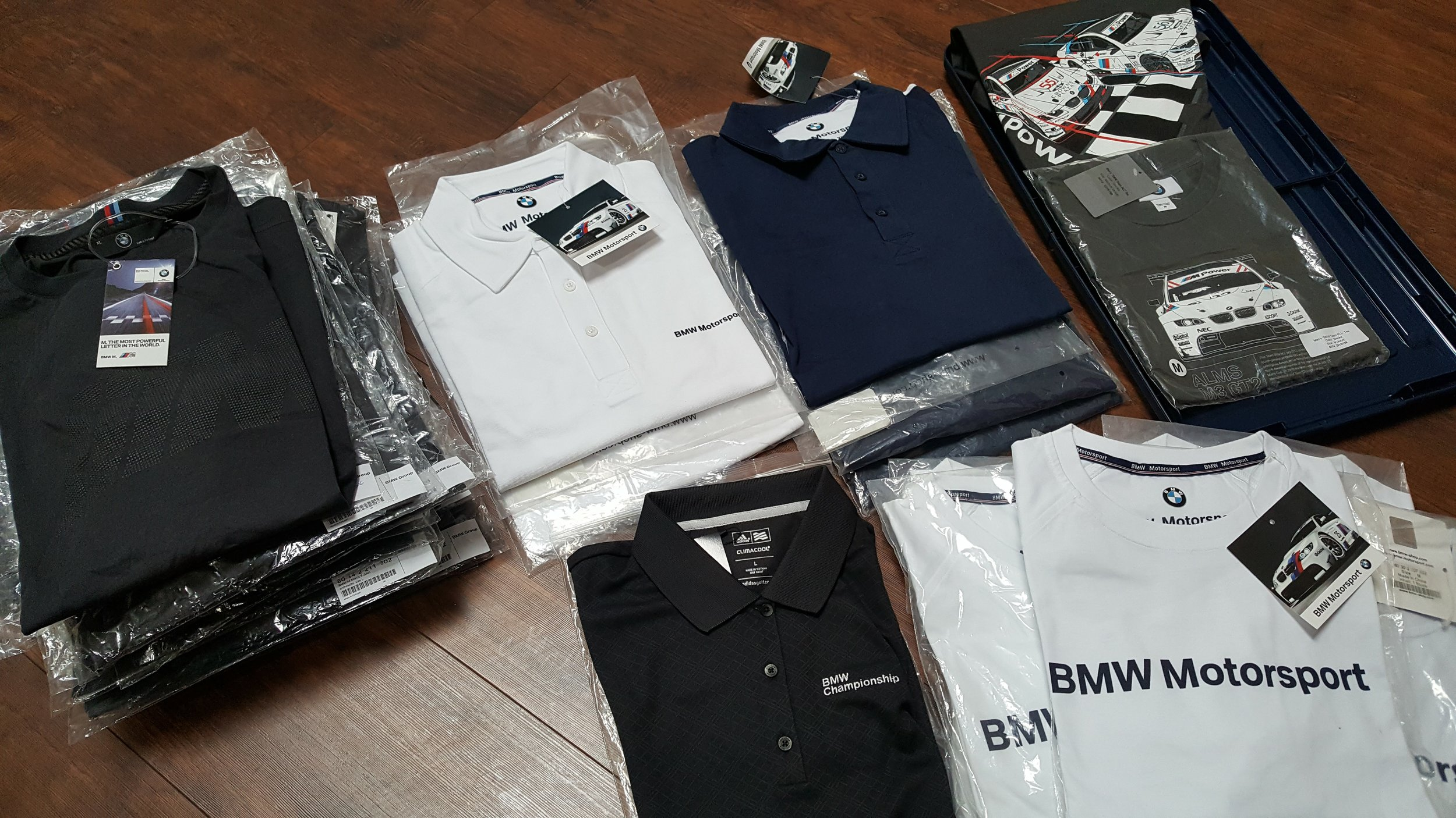 various bmw men's apparel   Donated by   BMW of Fremont  . 32 winners. Estimated value: $30-60.