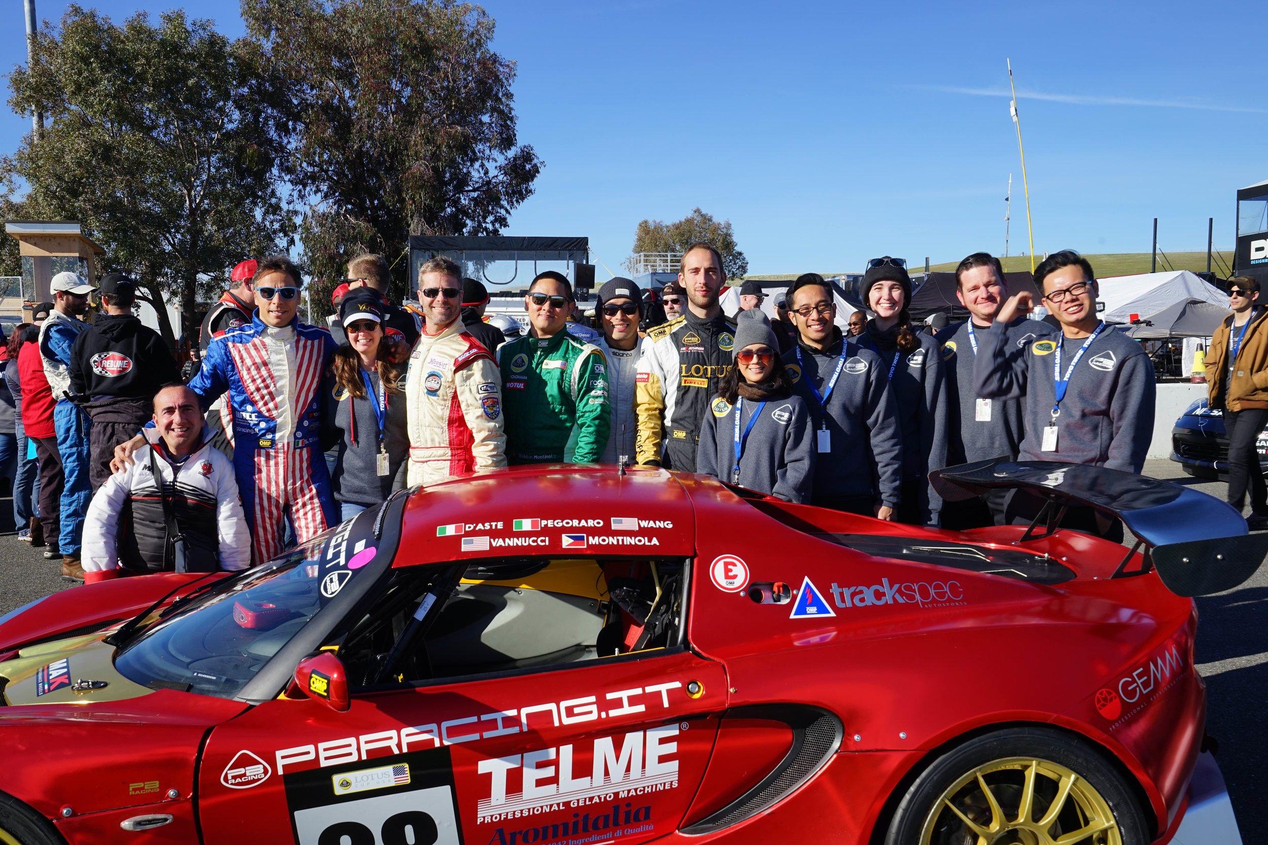 Group photo, but missing Carlo, Luca,and Andrea! PB Racing + Lotus Cup USA + Trackspec Autosports. Great team. PC: Stepanova Nekeel.