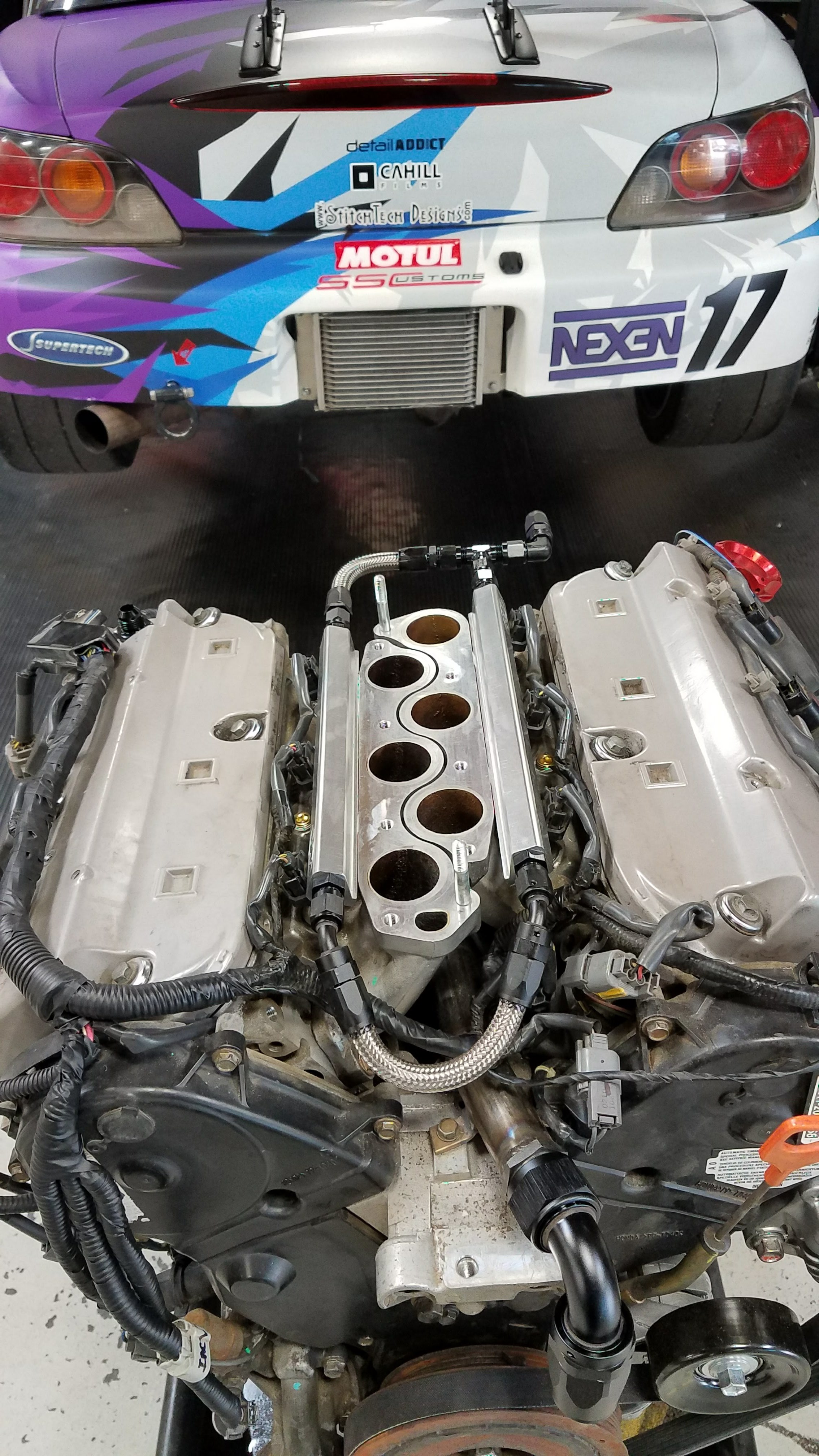 Flipped intake runners and manifold 180 degrees and added P2R fuel rails