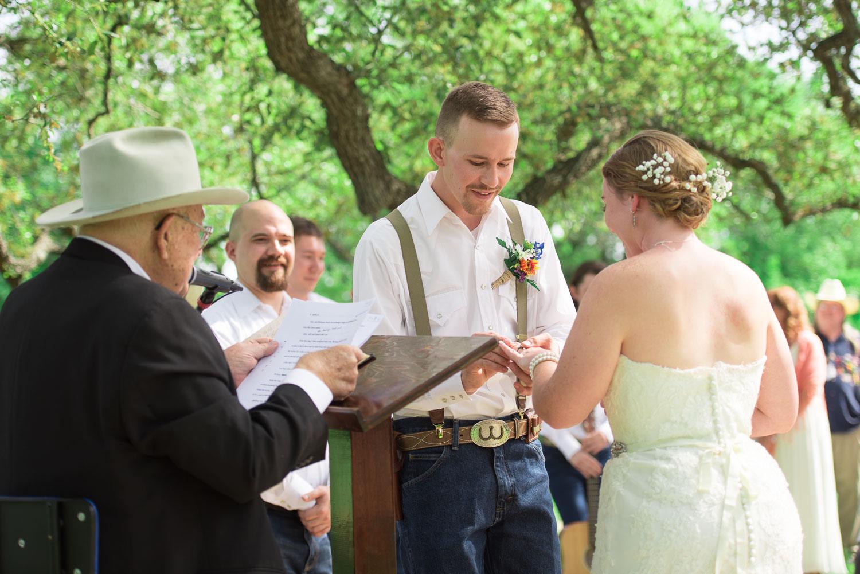 49 Bride and groom during outdoor wedding on Texas farmland.jpg