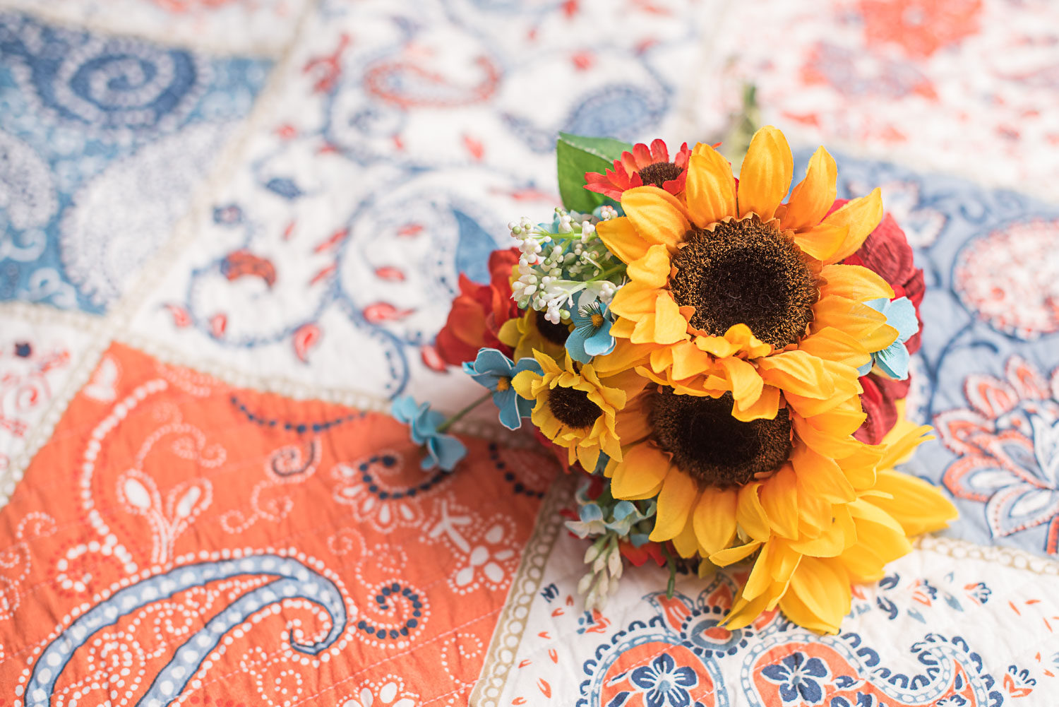 10 bride's bouquet of sunflowers on quilt.jpg