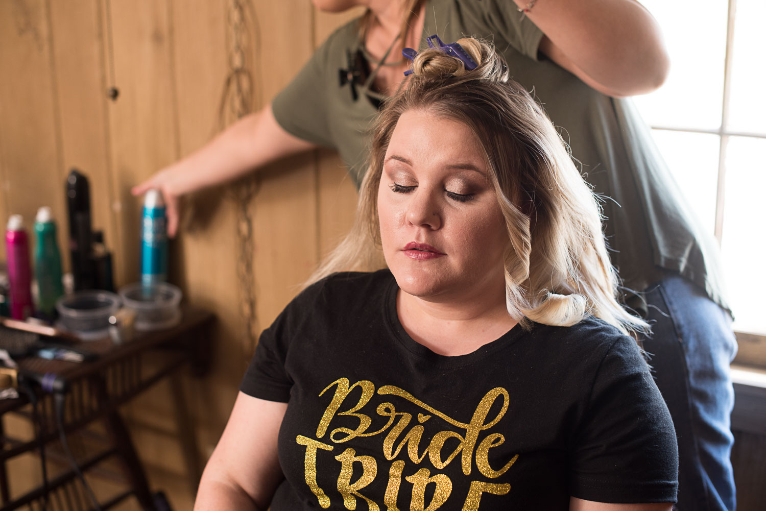 18 bridesmaid getting hair done by shelby dean.jpg