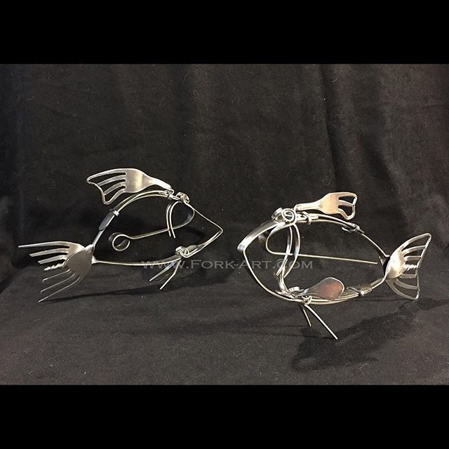 We added a bunch of new pieces to the website for our #blackfriday and #cybermonday weekend sales like these #fish so head over to the website and check them out! #fish #fishing #riverfish #rivertrout #trout #freshwaterfish #schooloffish #sculpture #stainlesssteel #metal #metalart #forkart #forkartgetbent #metalartist #artistsoninstagram #aquarium #ocean
