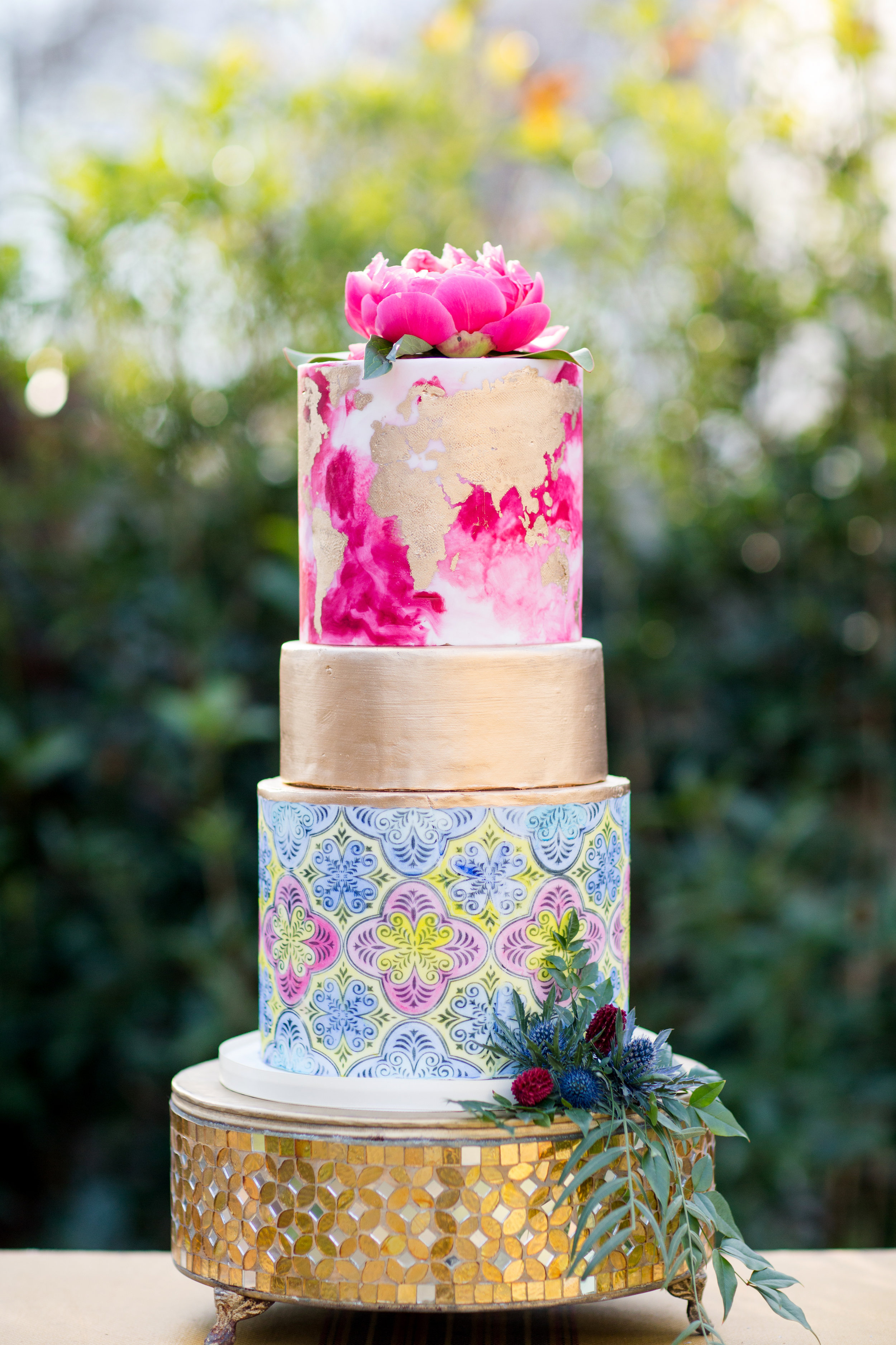 Watercolor and stenciled fondant cake