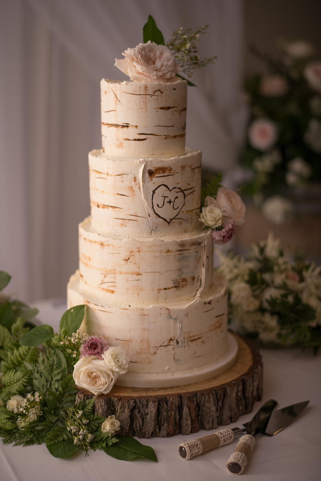 Hand-painted birch buttercream