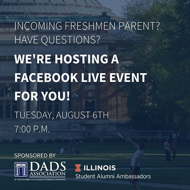 Are you a parent of an incoming Freshman and have some last minute questions? The Illini Dads Association and SAA want to help! We're co-hosting a Facebook Live event TOMORROW, August 6 at 7:00pm to answer all your questions! Use the link in our bio to learn more and sign up today! (https://ecs.page.link/6vEH2)