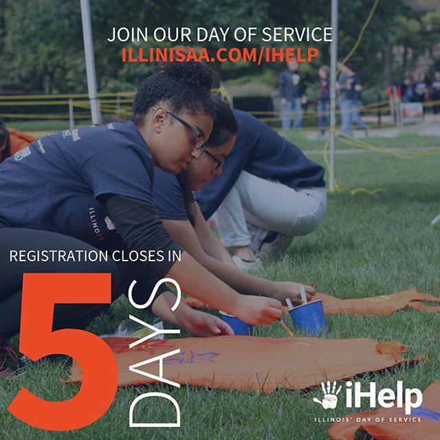 Registration for iHelp closes in 5 days! Don't miss out on the opportunity to give back to our campus community! Register as a group or individually at illinisaa.com/ihelp 🔹🔸