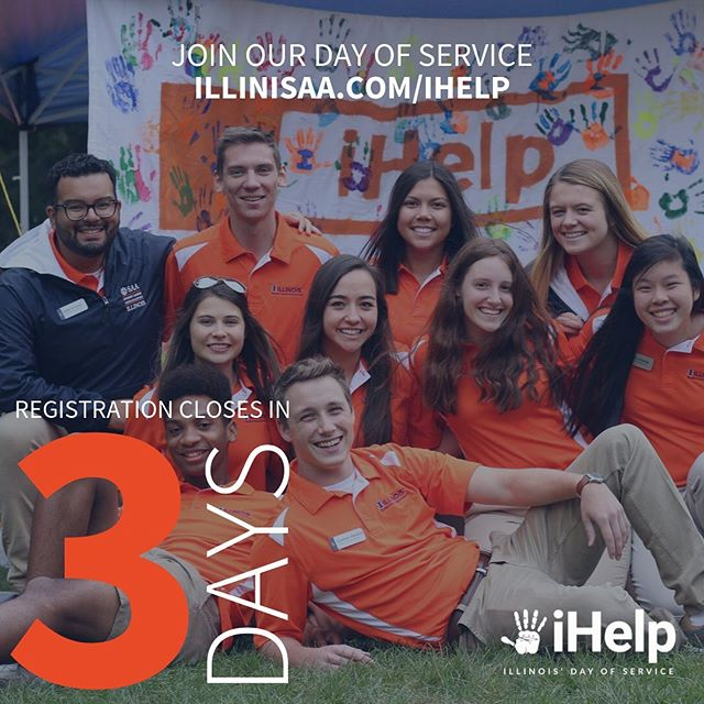 Three more days remaining to register for Illinois' Day of Service! Register now at illinisaa.com/ihelp 🔹🔸