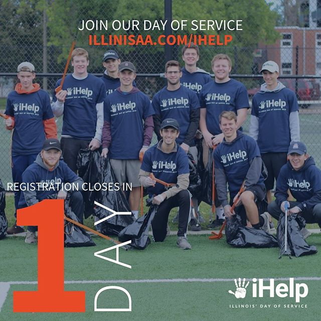 ONE DAY LEFT! iHelp gives you the opportunity to give back to the campus community that gives so much to you. Register now at illinisaa.com/ihelp 🔹🔸