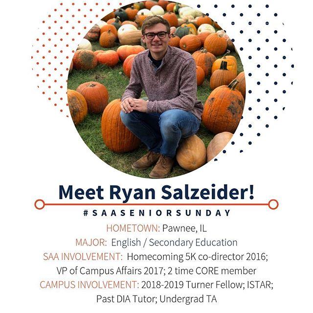 Happy #SAASeniorSunday! Meet Ryan Salzeider, one of our current senior members! 🔹🔸