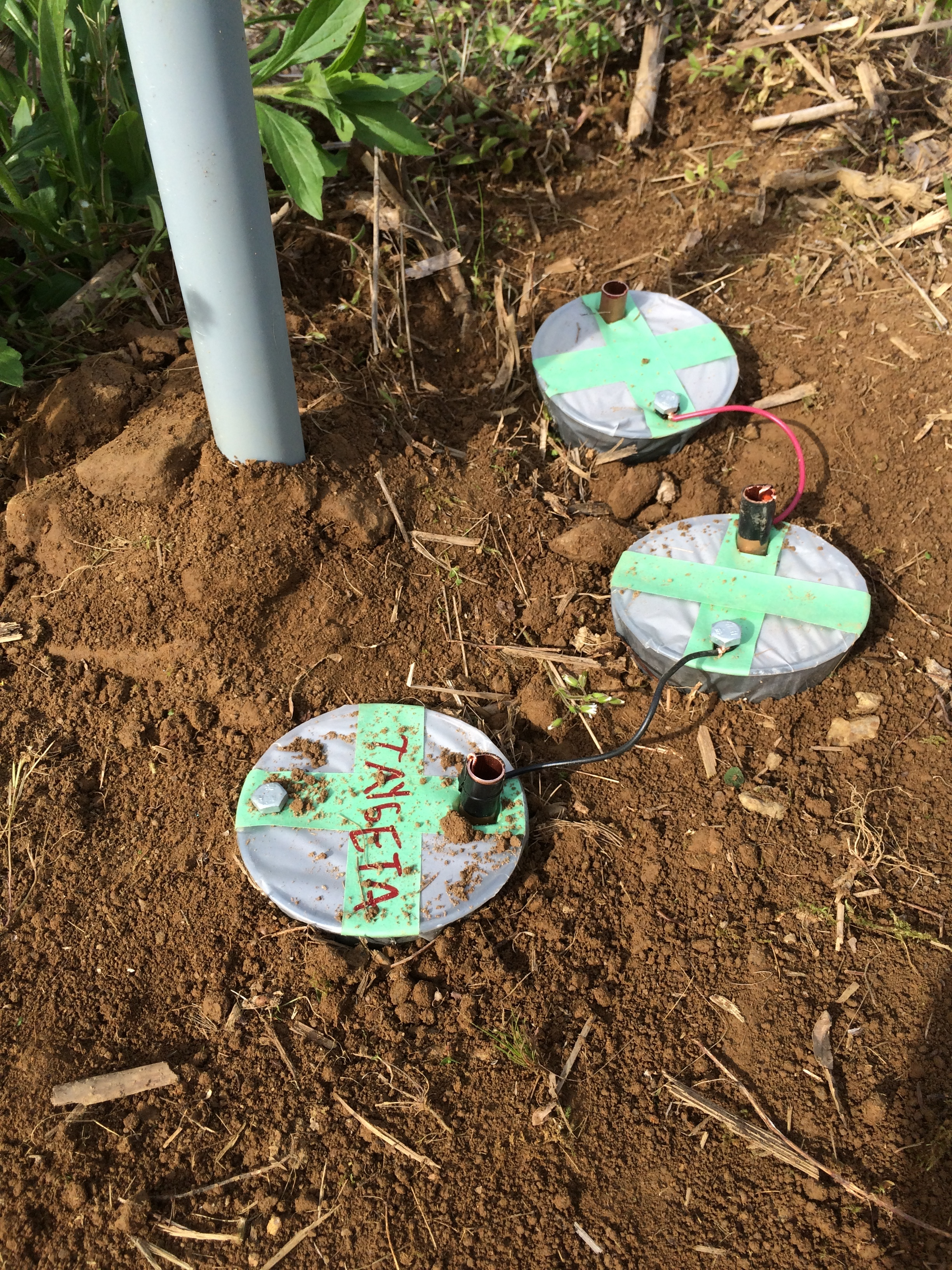 Earth battery cells planted in field.