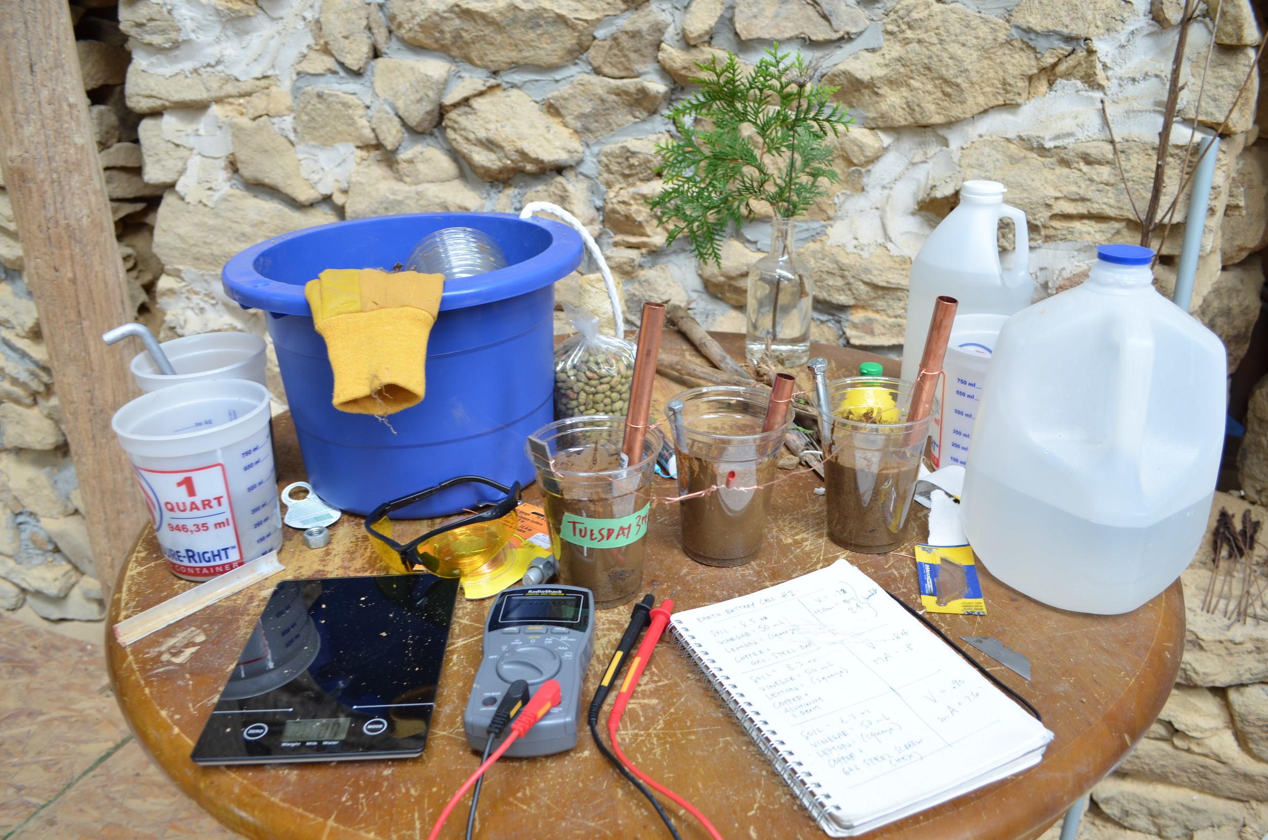 Earth battery experimentation.