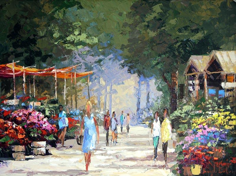 """""""Flower Market"""" - 30x40 - $3,200.00"""