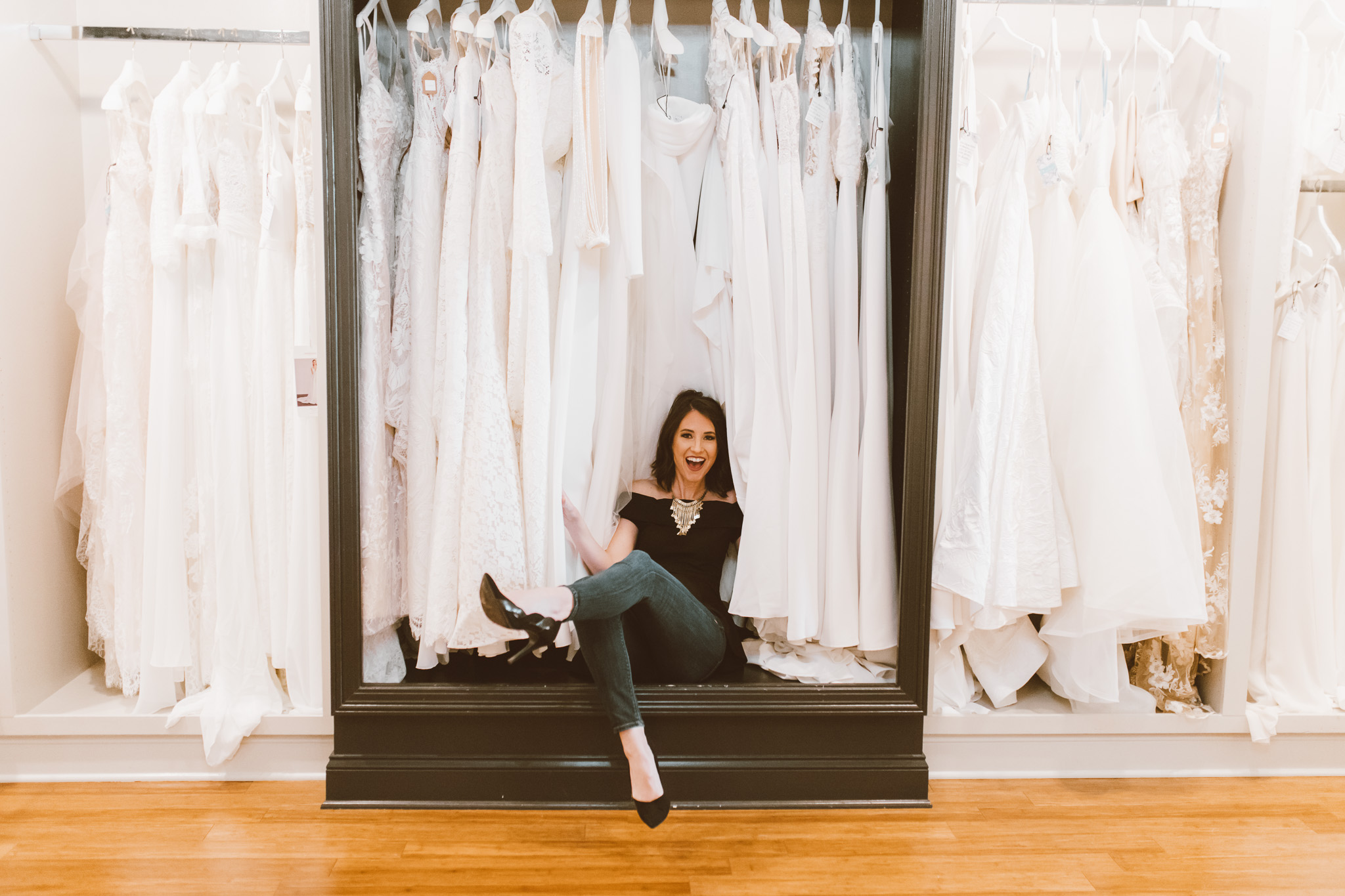Wedding dress shopping fun // Credit:  Whitney Jade Photography
