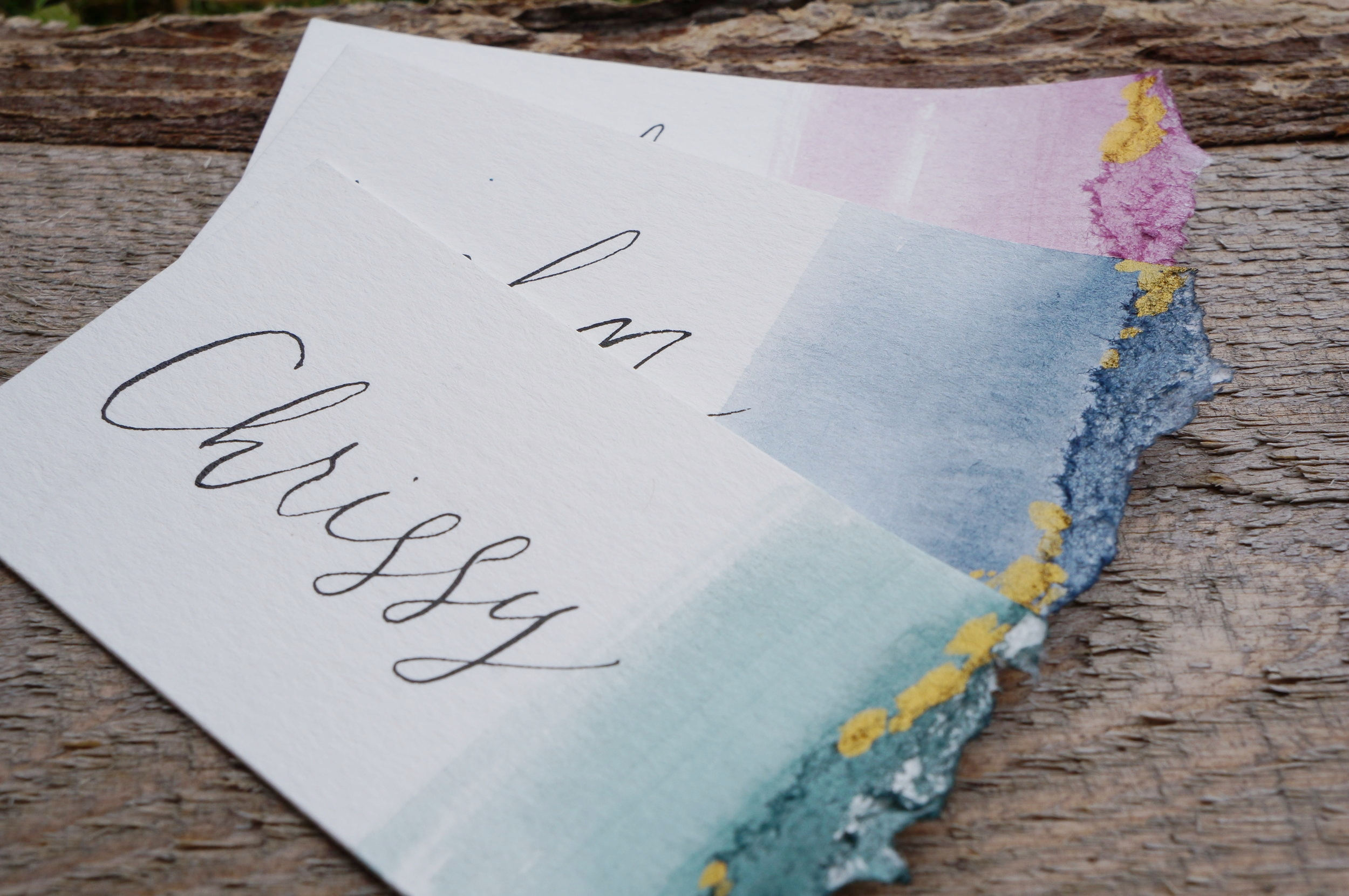 Hand cut, ripped, painted and written by me! Custom wedding place cards.     view in my etsy shop here
