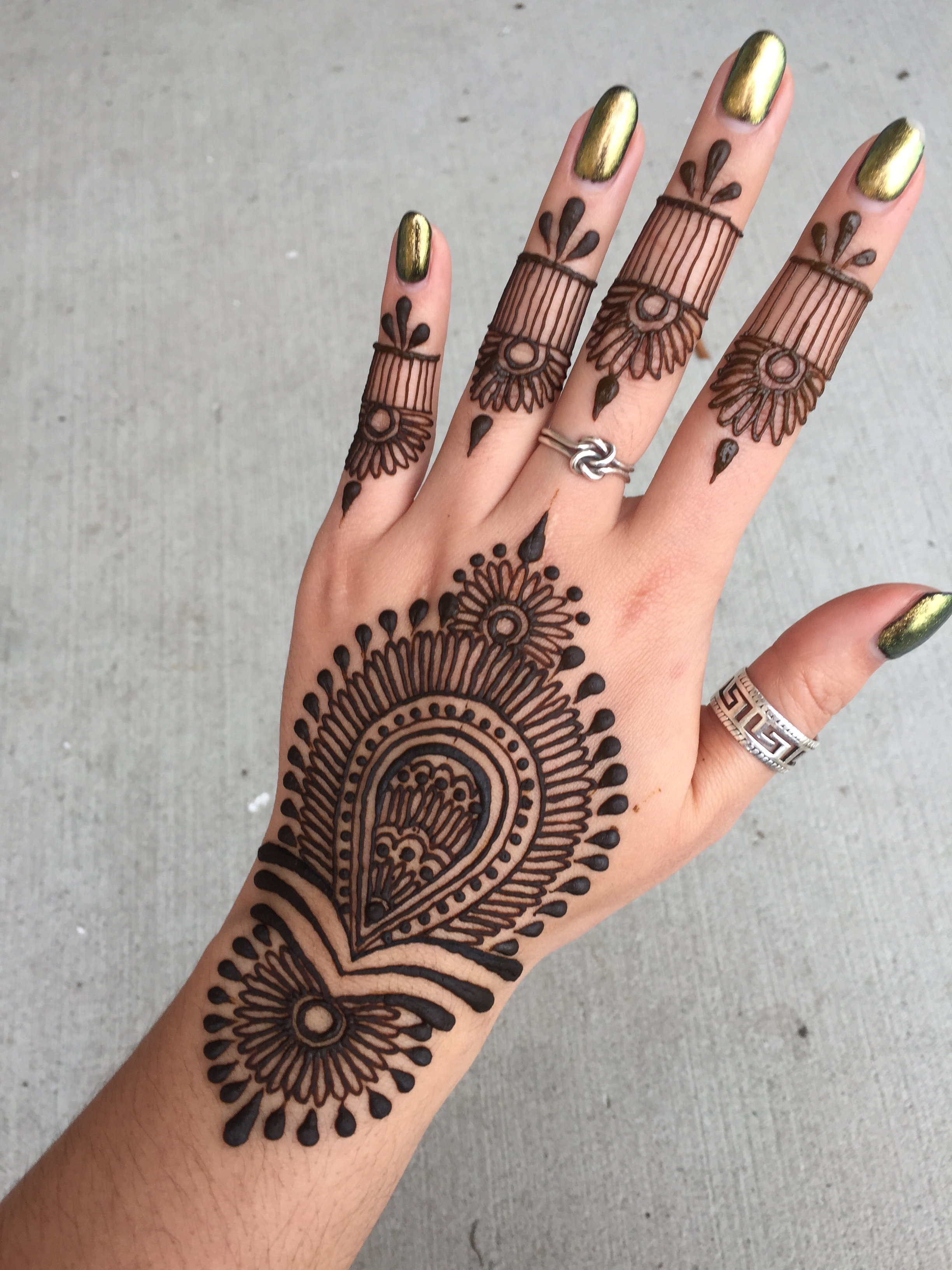 henna paste applied on the hand