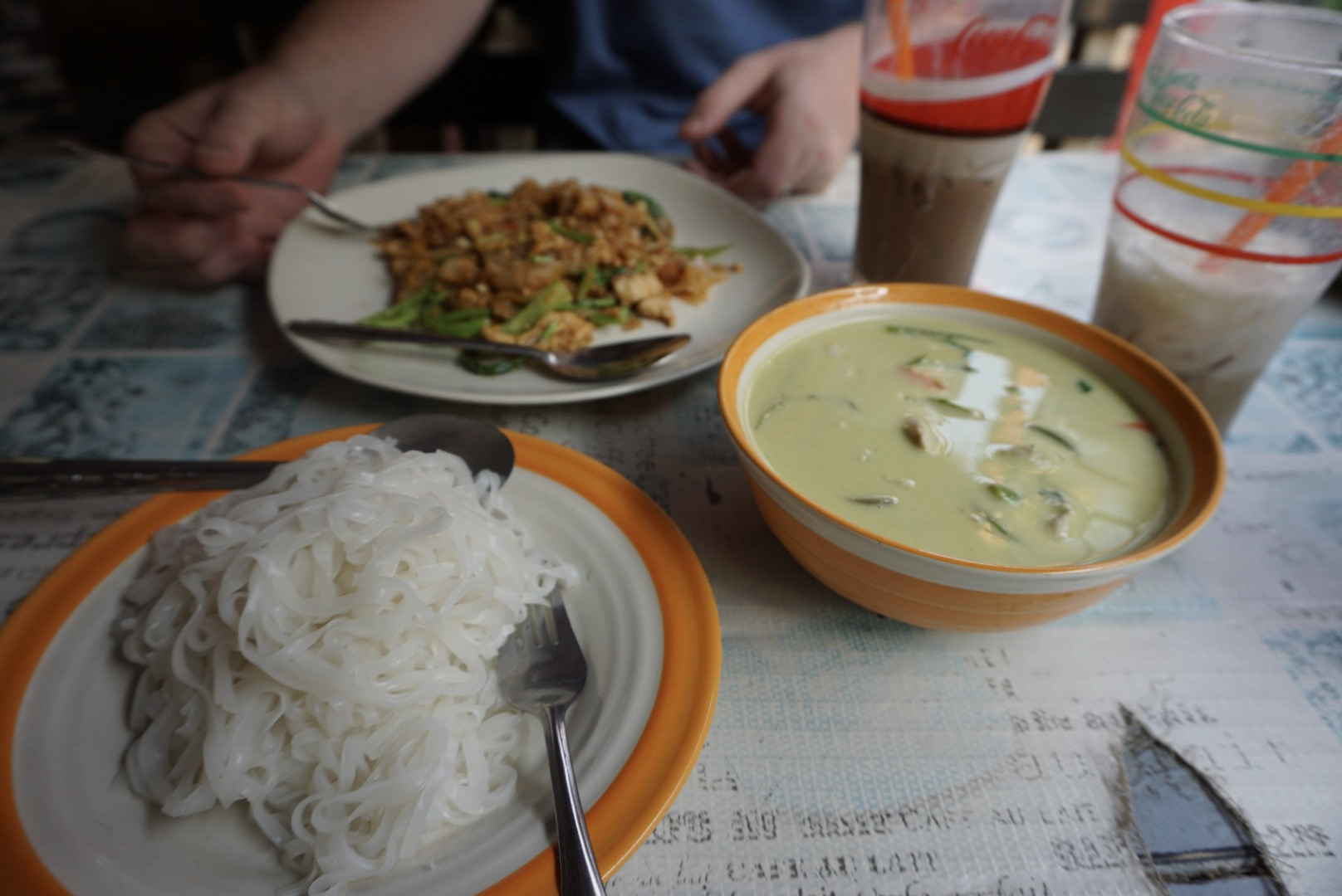 Green curry with rice noodles at Mickey's