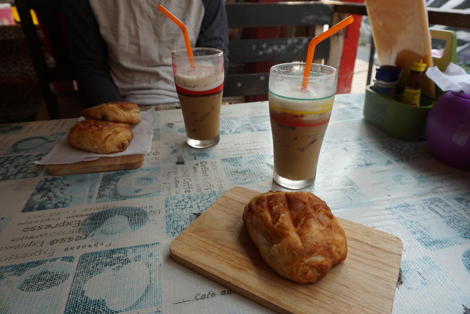 Iced Cappuccinos and croissants from Mickey's