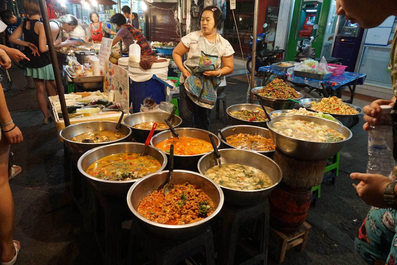 Giant pots of curry at the South Gate Night Food Market