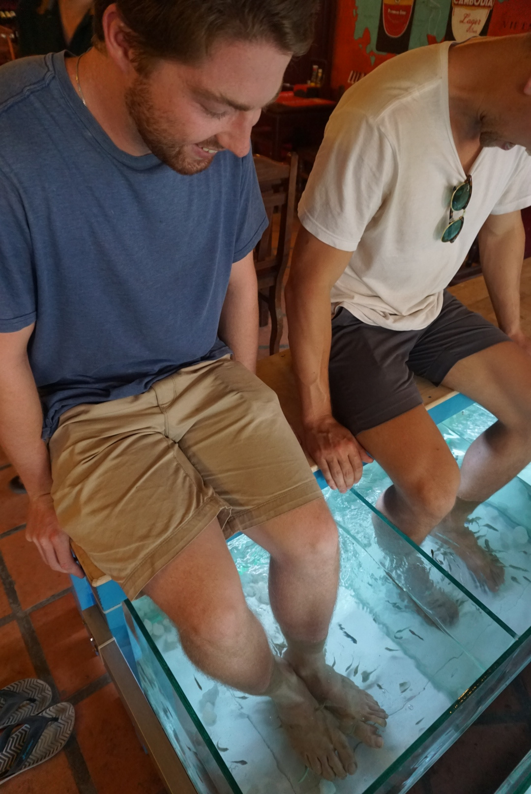 The boys getting fish pedicures downtown