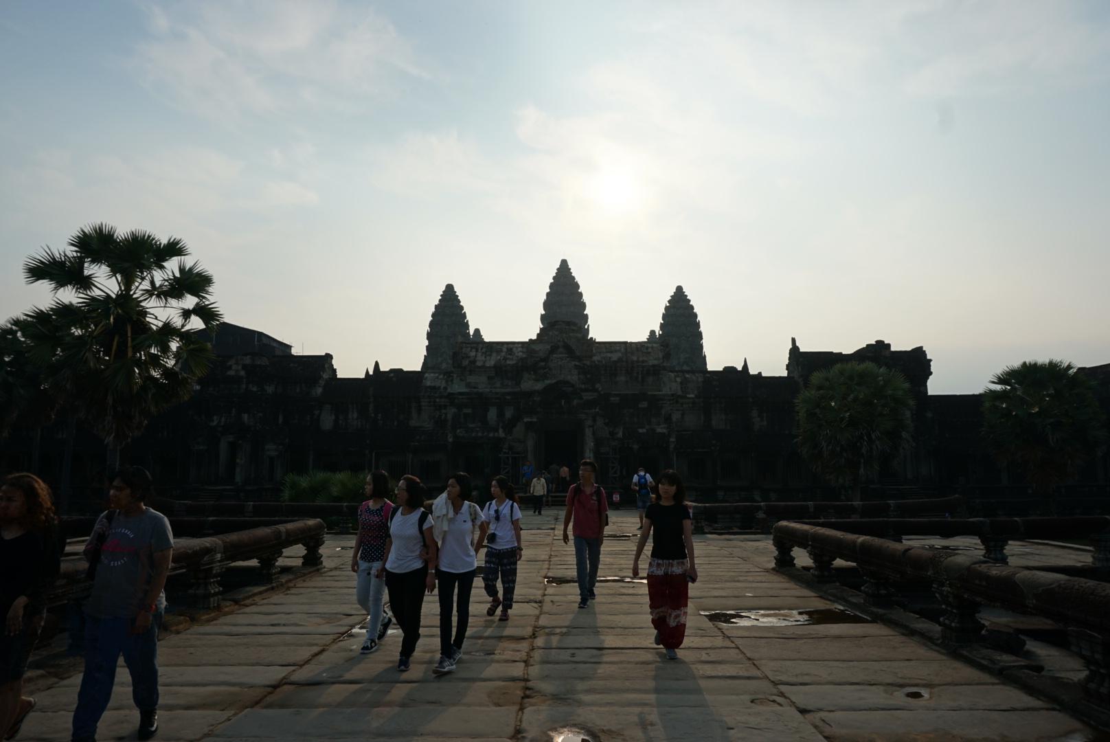 Walking up to Angkor Wat