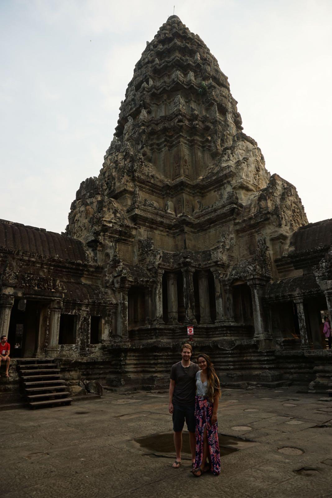 Inside Angkor Wat looking at one of the pillars