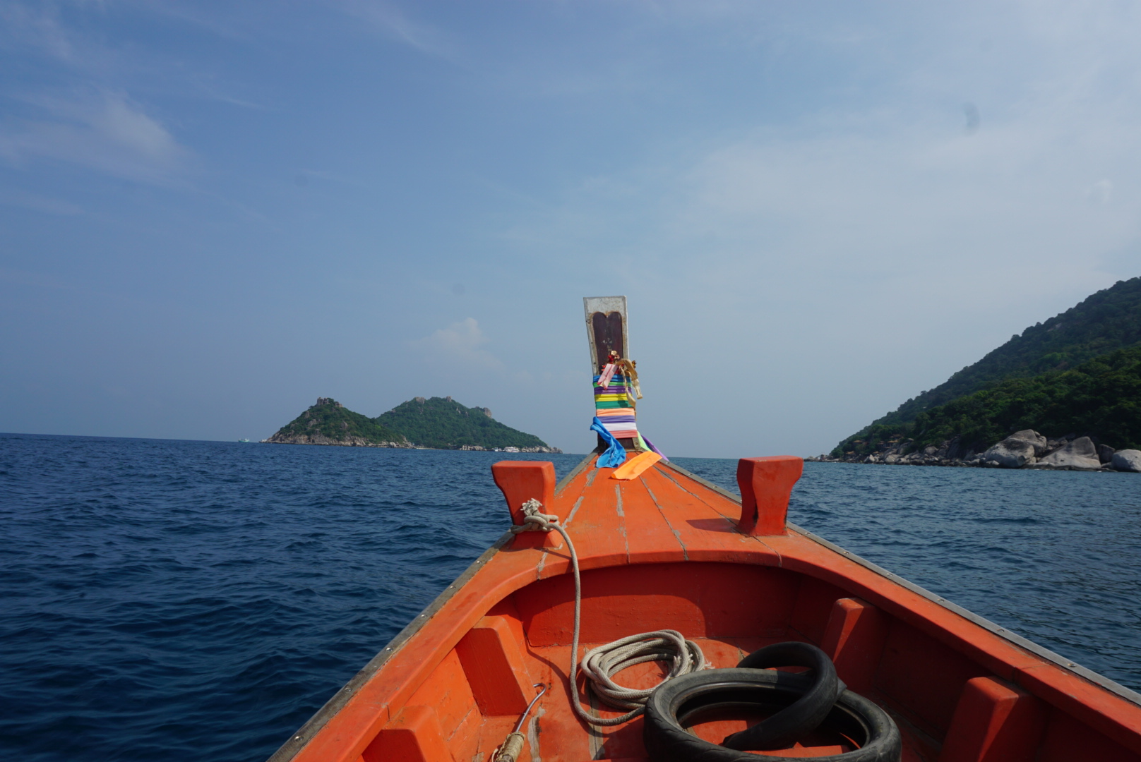 Long tail ride to the island. Koh Nang Yaun is to the left, Koh Tao is on the right.