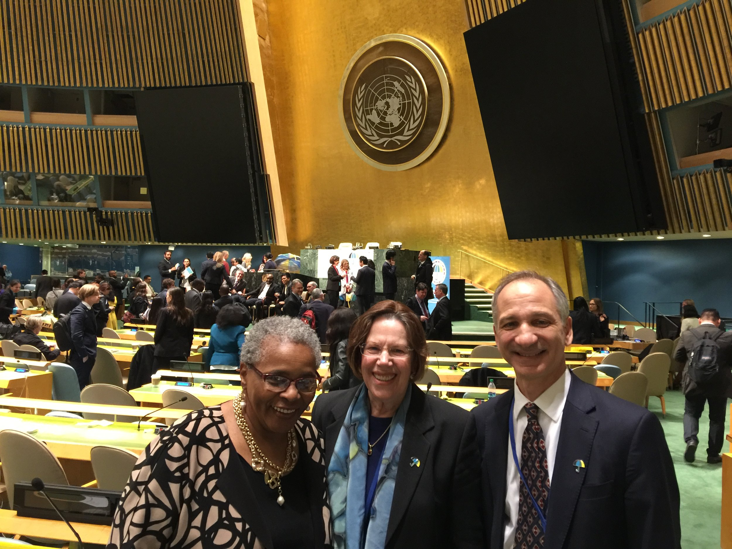 From left to right: Dr. Altha Stewart, President of the American Psychiatric Association, Dr.Vivian Pender, Chair, NGO CMH, Dr. Alexi Kalogerakis, UN Representative of the International Psychoanalytical Association