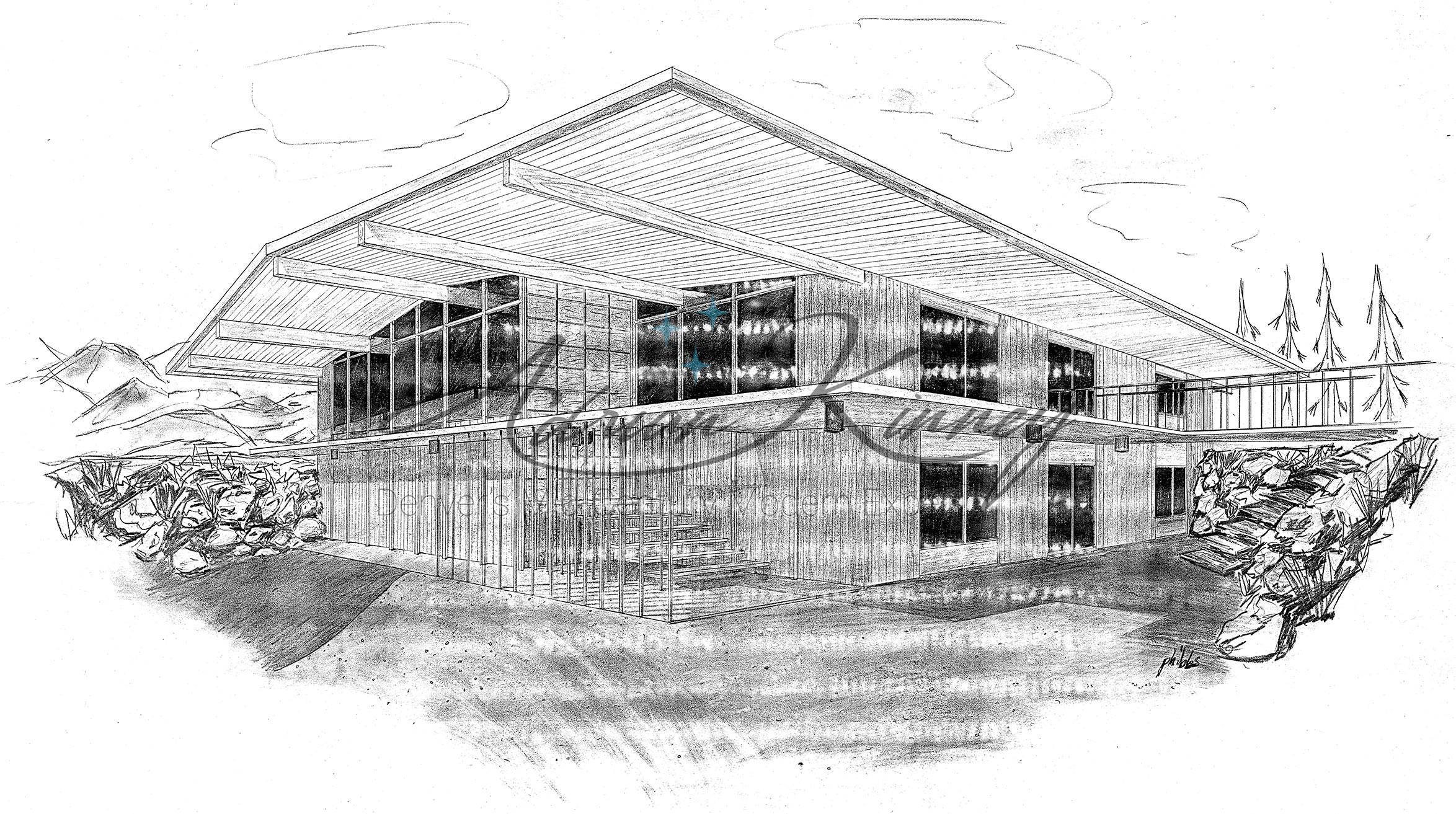 Perspective of the Phibbs House in Arvada, Colorado, looking northeast. Drawing by the house's Designer H. Albert Phibbs as the first sheet of the original drawing set. This scan is from a poor photocopy of the original set, causing the horizontal banding.