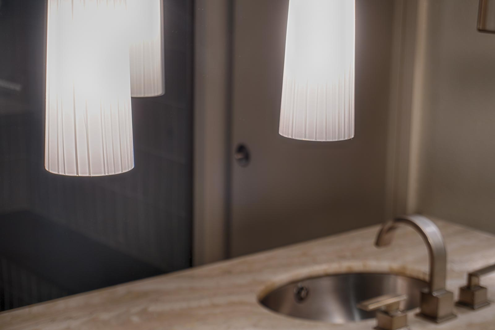 Fluted frosted glass pendants . . .