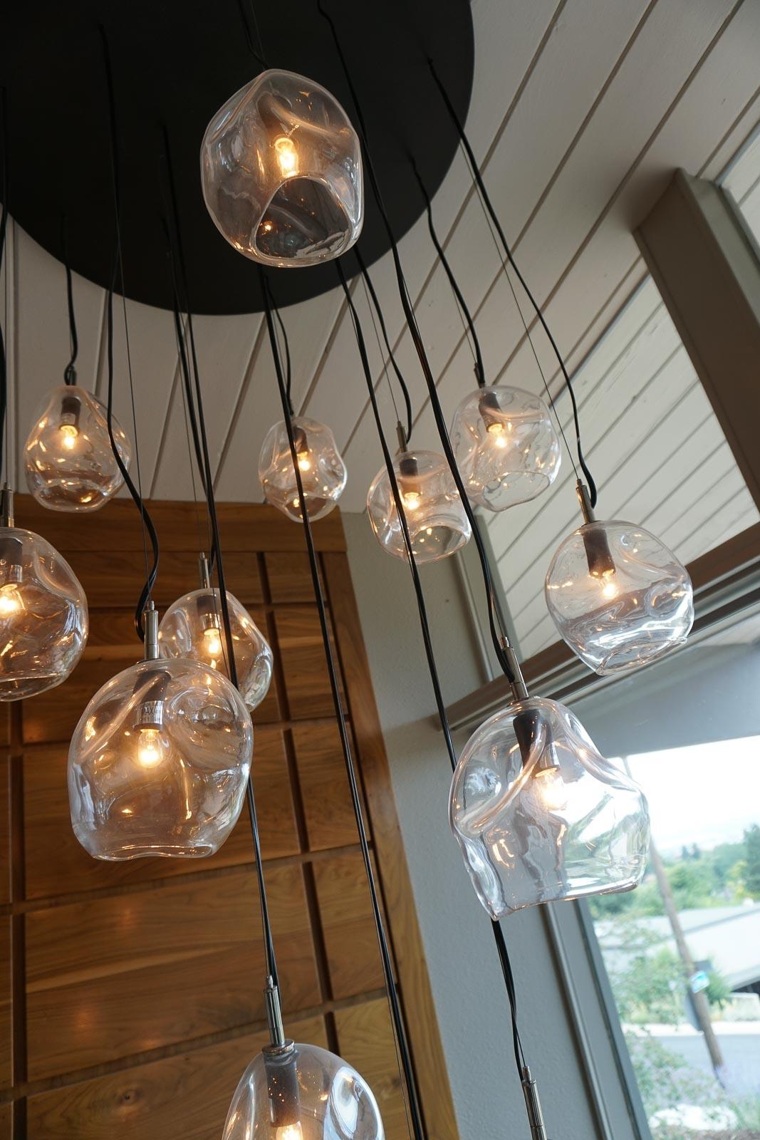A unique glass chandelier . . .