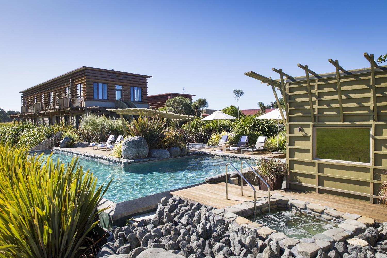 Morning sun on the solar heated pool, spa and sauna.