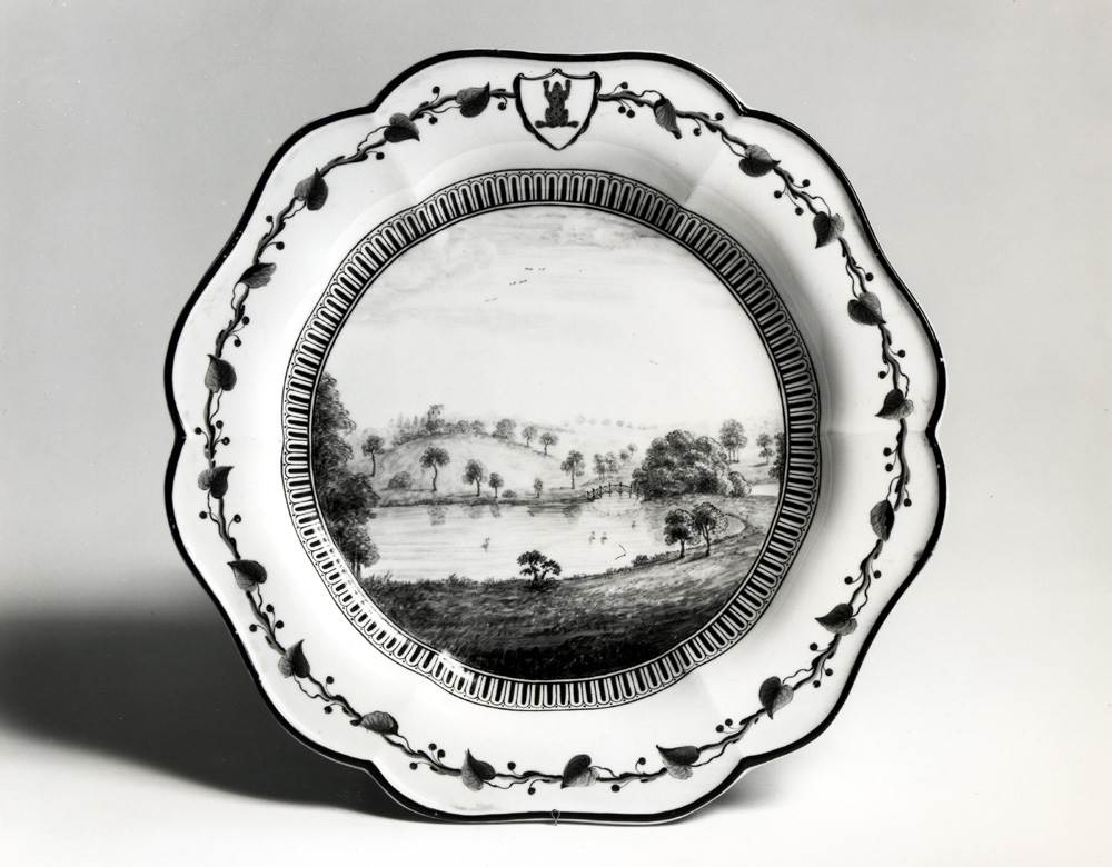 NEON - Scene -'Frog' service dessert plate, Middle Lake, Chinese Bridge & Gothic Folly by Amabel Polworth.jpg