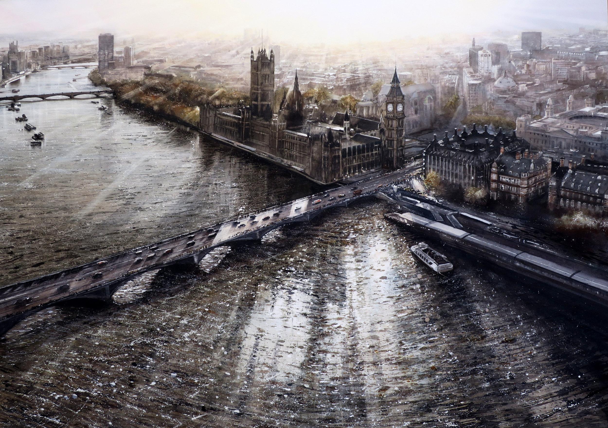 'From The Eye', watercolour, H103cm x W137cm